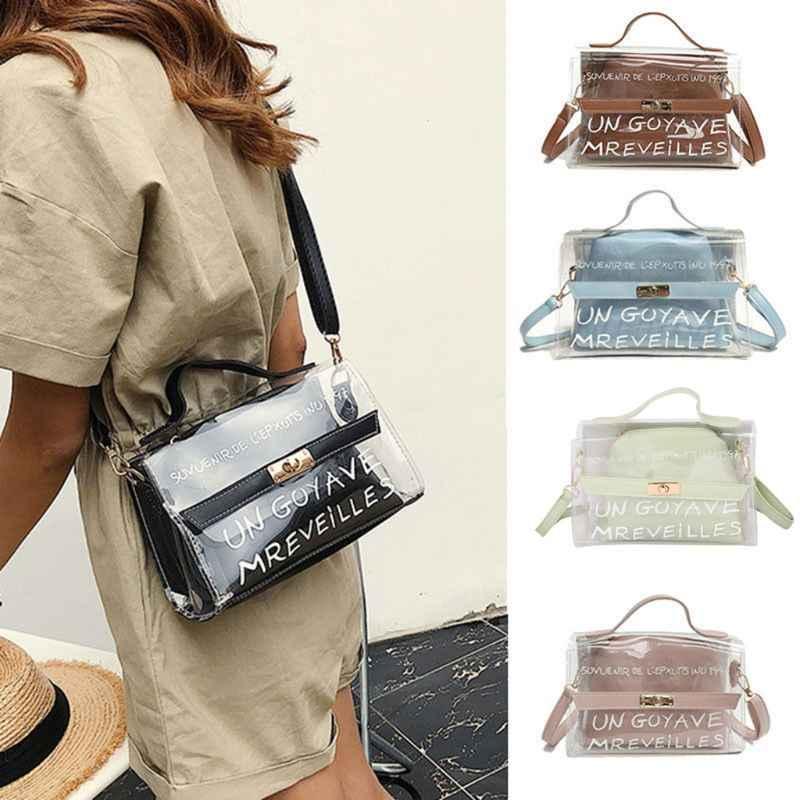 THINKTHENDO Fashion Women s PVC Clear Transparent Shoulder Bag Tote Girls  Multifunction Crossbody Bags Summer Handbag New 748af2fbcbd03
