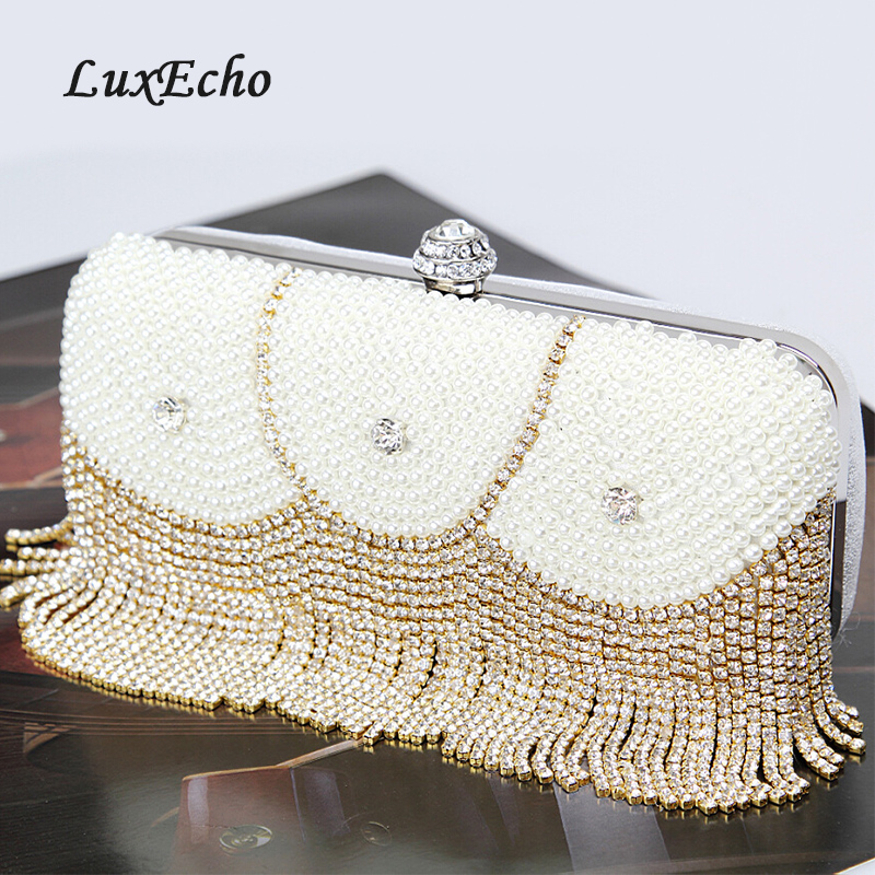 LuxEcho White Pearl Golden Crystal Handbags One single Chain shoulder bags Party Day Clucthes LuxEcho White Pearl Golden Crystal Handbags One single Chain shoulder bags Party Day Clucthes