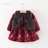 Winter Baby Infants Girls Kids Children Faux Fur Fleece Waistcoat Vest Vintage Princess Long Sleeve Dress
