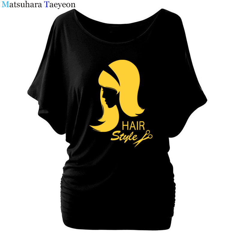 Barber Hair Style T Shirt Women Short Sleeve O-Neck Cotton Hairdresser Weapon T-shirt Girls Woman scissors Clothing Tops T39