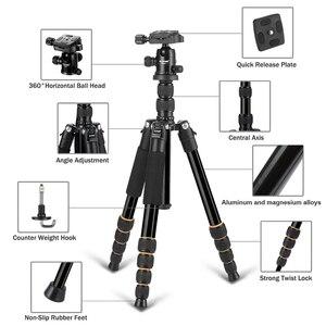 Image 2 - Walkingway الألومنيوم بروتابلي Q666 المهنية السفر كاميرا ترايبود Monopod الكرة رئيس و حامل هاتف ل DSLR الهاتف الذكي فيديو
