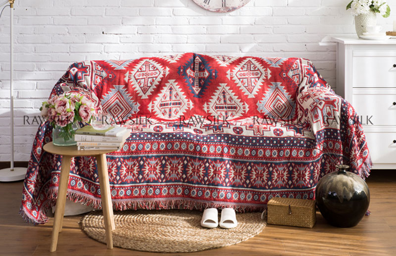 Kilim Red Sofa Towel Blanket Double Side Different Colors Tassels ...
