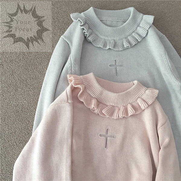 2017 Japanese korean lolita cute kawaii sweet harajuku vintage lace cross  hollow pink sweater women knitted pull femme 46901da66