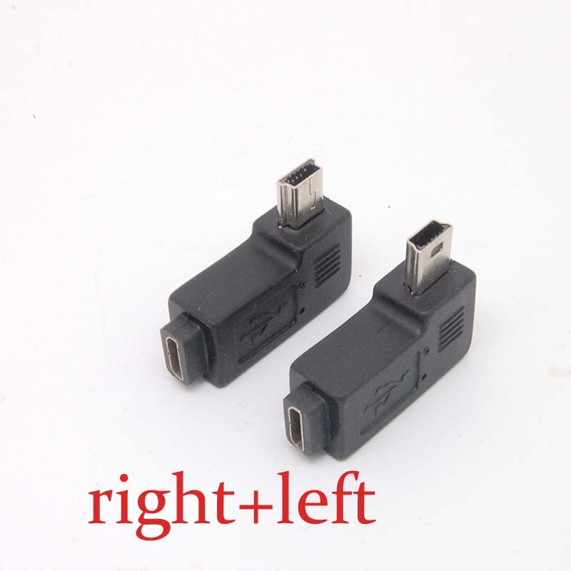 Mini USB Type A Male To Micro USB B FeMale 90 Degree Right/left Angle Adapter Free Shipping