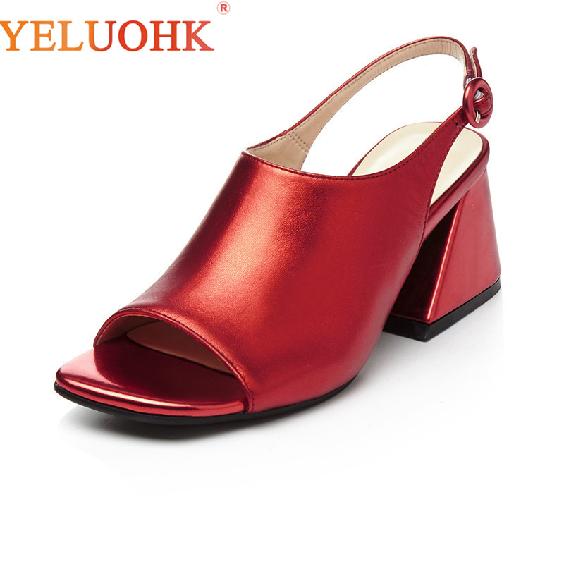 Босоножки из натуральной кожи Для женщин Высококачественные женские босоножки каблук 7 см 2018 Для женщин Летняя обувь