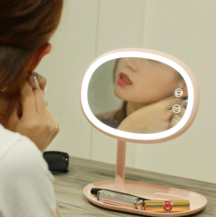 Creative led makeup dressing table lamp usb charging dimming band lamp mirror storage mobile phone holder can be broadcast makeu