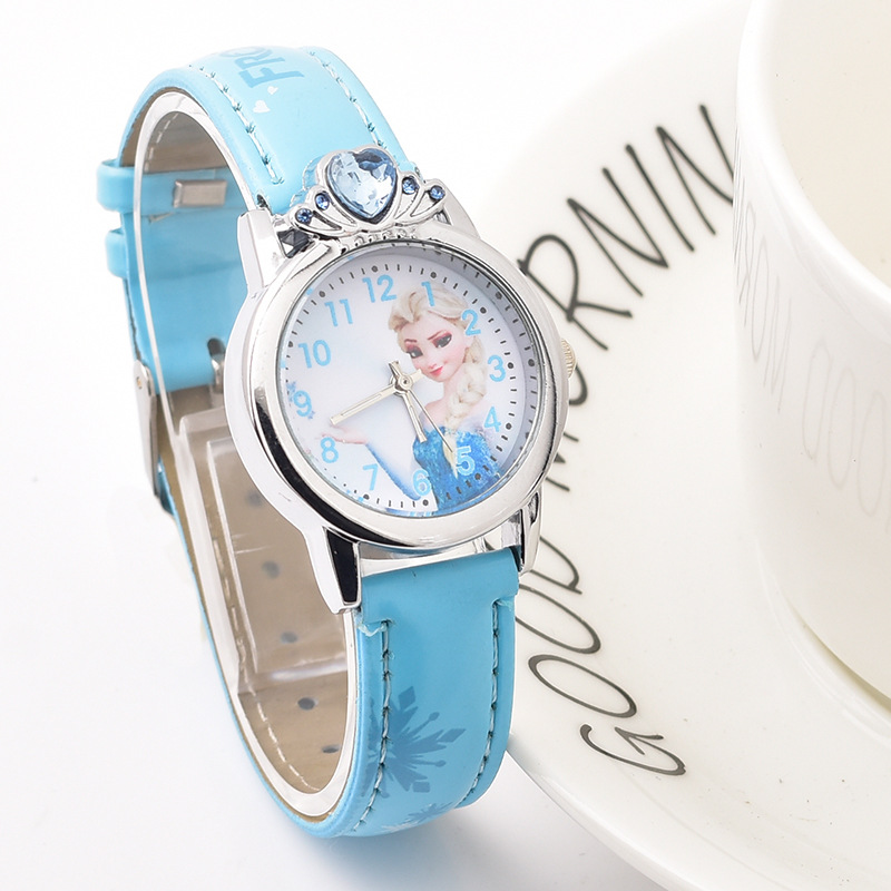 New Arrival Princess Elsa Children Watches Cartoon Anna Crystal Kids Watch For Girls Student Wrist Watches Relogio Kol Saati