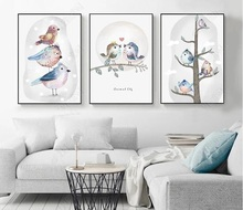 Cartoon Birds Art Prints Rectangle Canvas Bird Fam