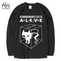 HanHent Schrodinger S Cat Man S T Shirts Long Sleeve Cotton Tops Creative Tees Men Casual