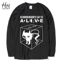 HanHent Schrodinger S Cat Man S T Shirts Long Sleeve Cotton Tops Creative Tees Men Casual