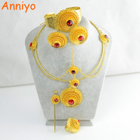 Anniyo Ethiopian Complete Set Forehead Hair Piece/Hair Pin/Clips Earrings Etc Gold Color Stone Jewelry Eritrea Wedding #001917