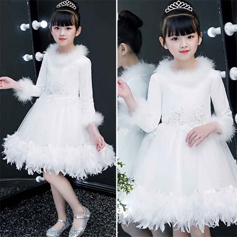 Autumn Winter Kids Children White Birthday Wedding Party Princess Lace Dress Teens Girls Piano Costume Host Ball Gown Prom Dress 2018 winter girls fancy mini floral party wear clothing for children sleeveless lace princess wedding dress prom dress for teens