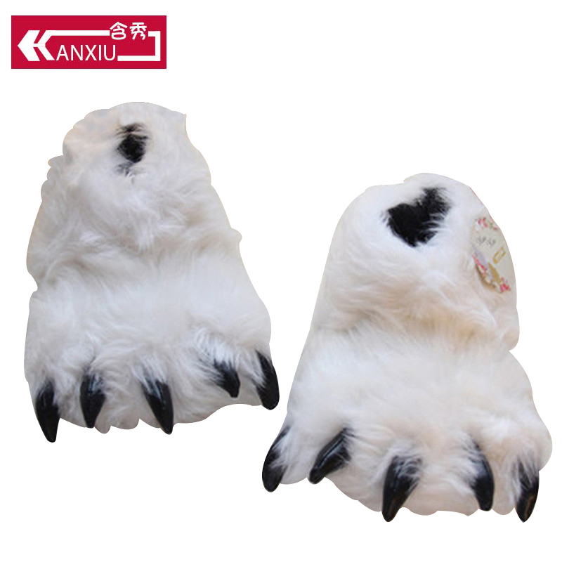 Fluffy Winter Slippers Women Bear Paw Design Home Floor Cartoon Flat Slippers With Faux Fur Indoor Shoes Warm Women Shoes
