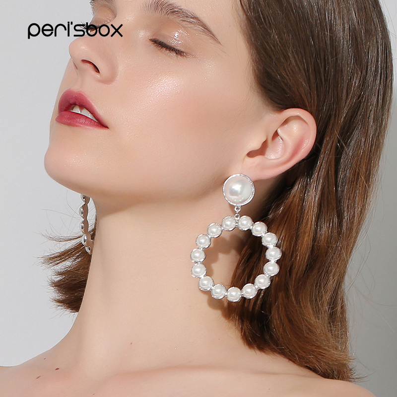 Peri Sbox Boho Sliver Color Pearl Large Hoop Earrings For Women Bijoux Oversized Hoops Statement Circle In From Jewelry