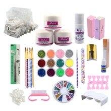 Acrylic Nail Art Manicure Kit 12Colors Glitter Powder Nail Art Tools Set Nail Extension Kit Acrylic Powder UV Brush For Manicure