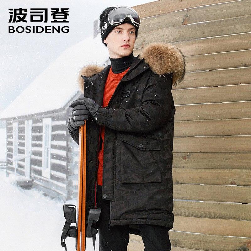 BOSIDENG NOUVEAU sévère profonde hiver épais vers le bas veste hommes longue en DUVET D'OIE manteau grand col de fourrure naturelle haute qualité B70142021