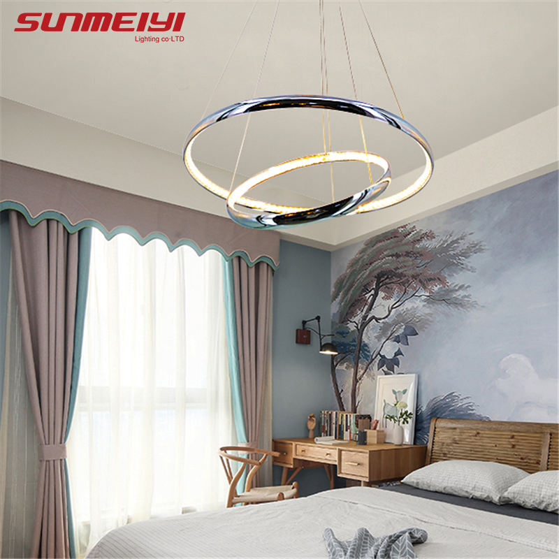 Modern Crystal Aluminum LED Pendant Lights Inside Emit Light Ceiling ...