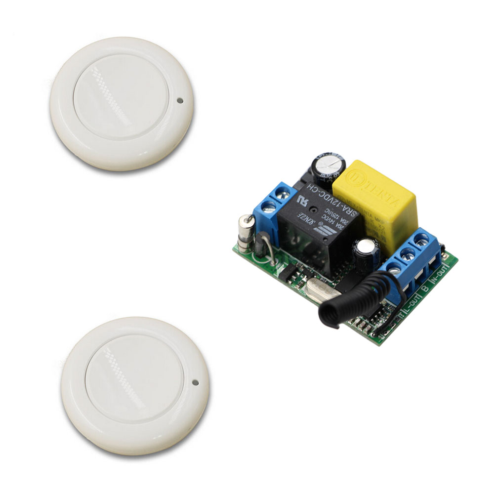 Latest  AC 220 V 1CH Wireless Remote Control Switch System 1pcs Receiver & 2pcs One Button Wall Round Remote 315mhz 433mhz wireless service call bell system popular in restaurant ce passed 433 92mhz full equipment watch pager 1 watch 7 call button