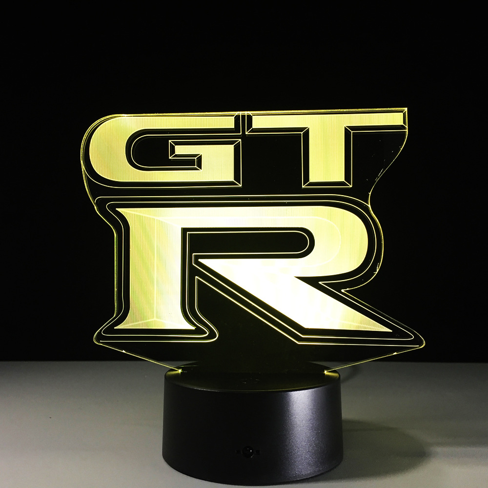 GTR racing car 3D Action figure Model Style LED lamp 7 Color Changing Atmosphere Bedroom ...