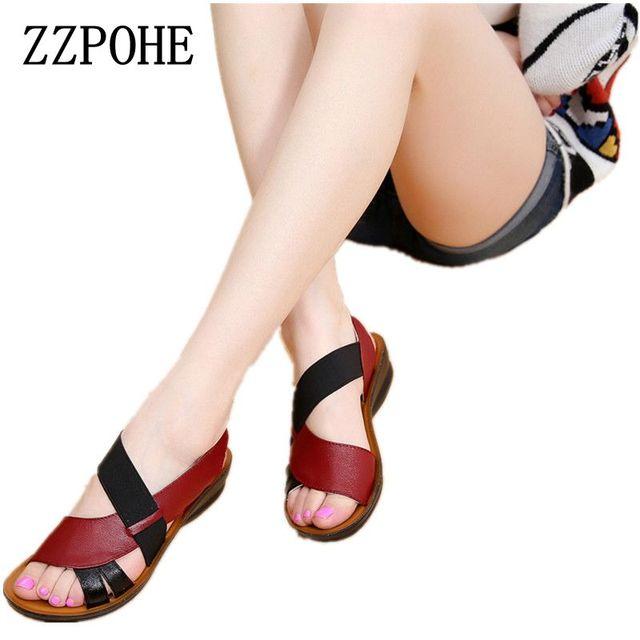 Zzpohe новые летние женские мягкие дно среднего возраста Сандалии для девочек модные удобные женские мокасины Сандалии для девочек кожа женская обувь большого размера 40