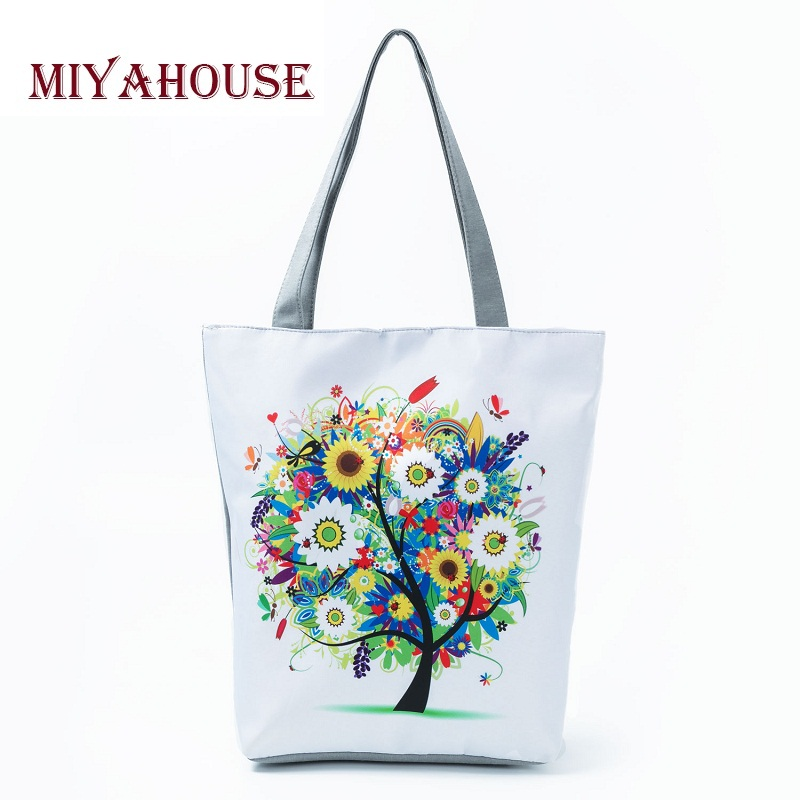 Colorful Tree Design Shoulder Handbags Female Summer Beach Bag For Women Canvas Tote Bags Casual Girls Shopping Bag