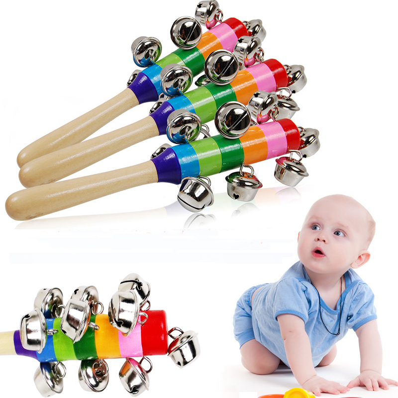 Baby's Bell Rattle Rainbow Shaker Stick Educational Toy Handle Wooden Activity Bell Ring Rainbow Musical Instrument