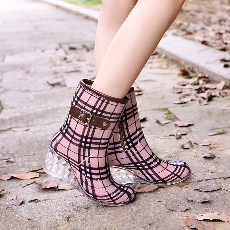 New ladies waterproof wedges fashion spring breathable ankle Martin shoes women shoes rubber non-slip high-heeled rain boots new women shoes breathable fashion ladies flats non slip summer wedges shoes for women aa10218