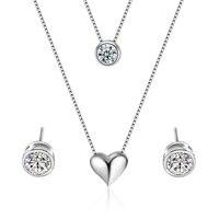 100% Srebrny 925 AAA Jewelry Sets dla Kobiet Miłość Serce Naszyjniki i Wisiorki Wielowarstwowe Podwójne Choker Komunikat Naszyjnik Zestaw