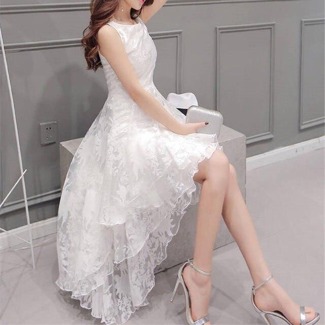 Dziewczyna Sukienki Biały Kiedykolwiek Dość Koronki Kobiety Elegancki Okrągły Neck Bez Rękawów Wedding Party Dress