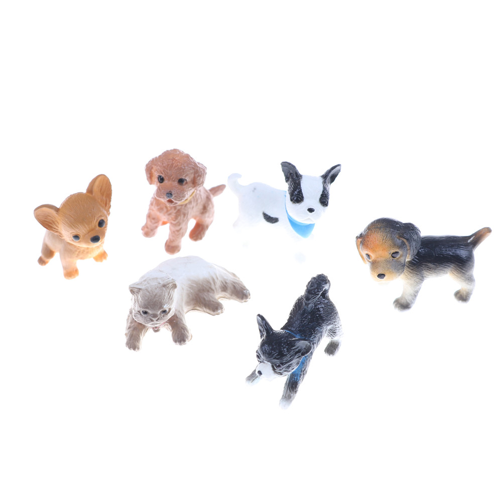 6pcs/lot Simulation Cat And Dog Dollhouse Miniature Model Doll House Decoration Gift Dolls Accessories 1:12 Scale