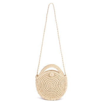 FGGS Round Paper rope Beach Bag Summer mini Vintage Handmade Crossbody straw Bag Girls Circle Rattan bag Small Bohemian Shoulder 6