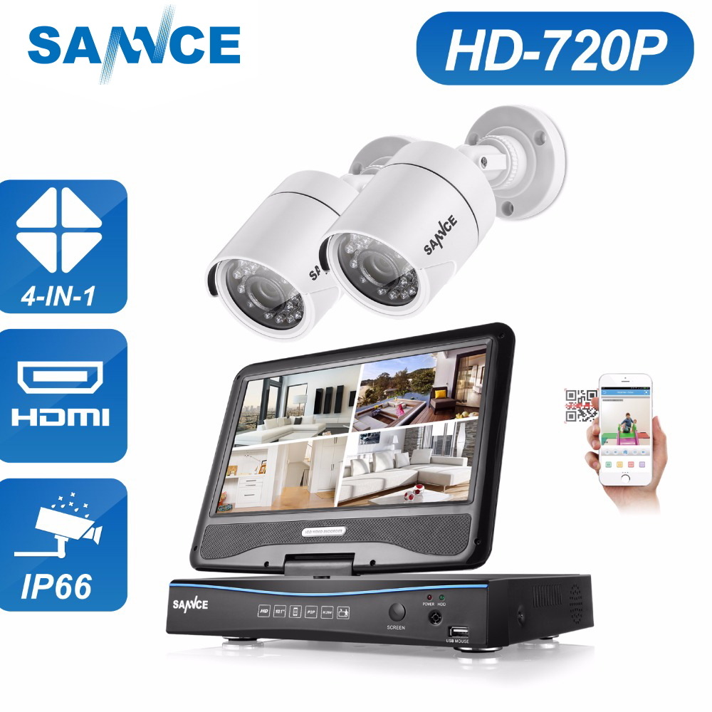 SANNCE 10 LCD Monitor 4CH DVR 720P CCTV Security System 2pcs 1.0MP 1200TVL IR Outdoor Security Camera video Surveillance kits sannce 4 channel 720p dvr cctv camera system 2pcs 1200tvl 720p ir outdoor security camera system surveillance kit 1tb hdd