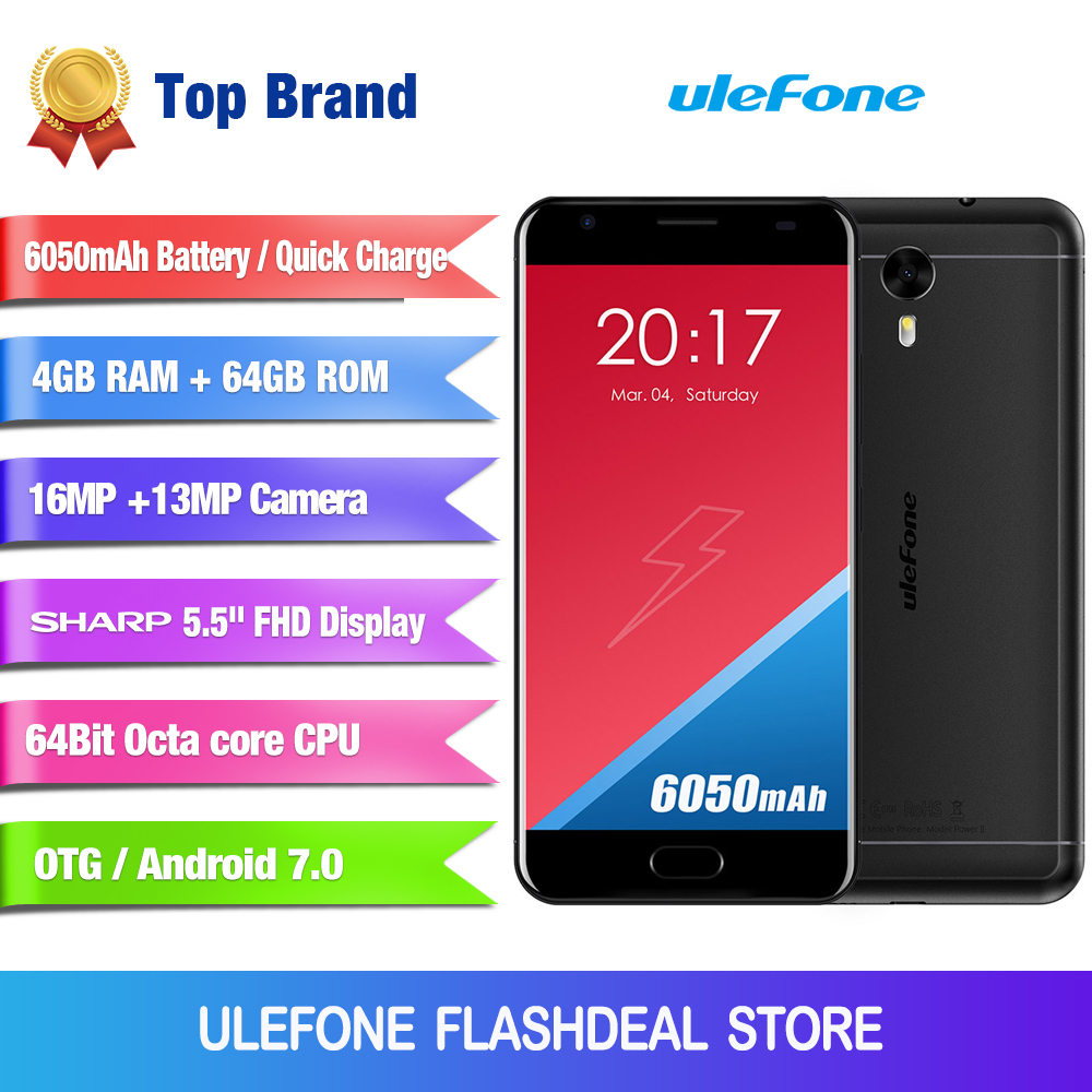 Ulefone Power 2 European version <font><b>Smartphone</b></font> 5.5 Inch FHD MTK6750T Octa Core <font><b>Android</b></font> <font><b>7.0</b></font> 4GB+64GB 16MP 6050mAh Fingerprint ID 4G image