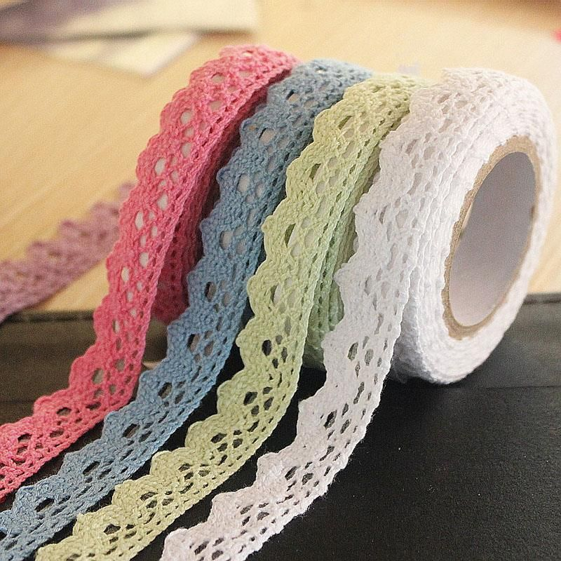 1PCS Tapes Adhesive Fabric Cotton Lace Tape For DIY Decoration Stationery Adhesive Tapes Gifts Holiday JD137