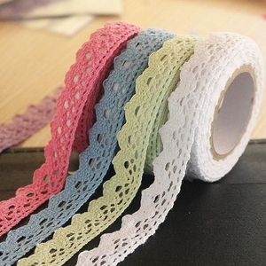 1PCS Tapes Adhesive Fabric cotton Lace Tape for DIY decoration Stationery Adhesive Tapes Gifts Holiday JD137(China)