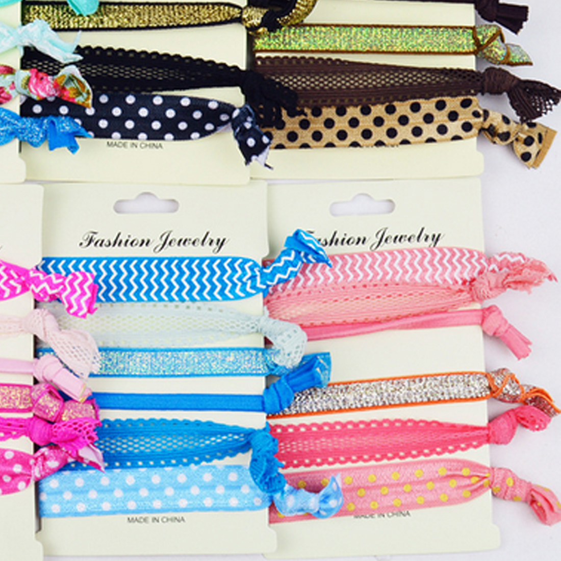 6PCS/Set Women Girls Pattern Elastic Hair Band Ponytail Holder Bracelets Rope Hairband Silk Cloth Knotted   Headwear   Accessories