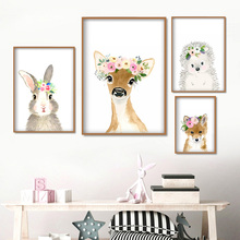 Cute Rabbit Deer Fox Hedgehog Rose Flower Wall Art Canvas Painting Nordic Posters And Prints Pictures For Kids Room Decor