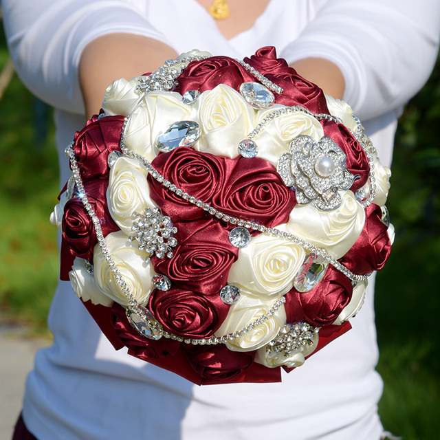6 Styles Crystal Burgundy Wedding Bouquet De Mariee Satin Wedding Flowers Bridal Bouquets Gorgeous Bouquet De Noiva FE30