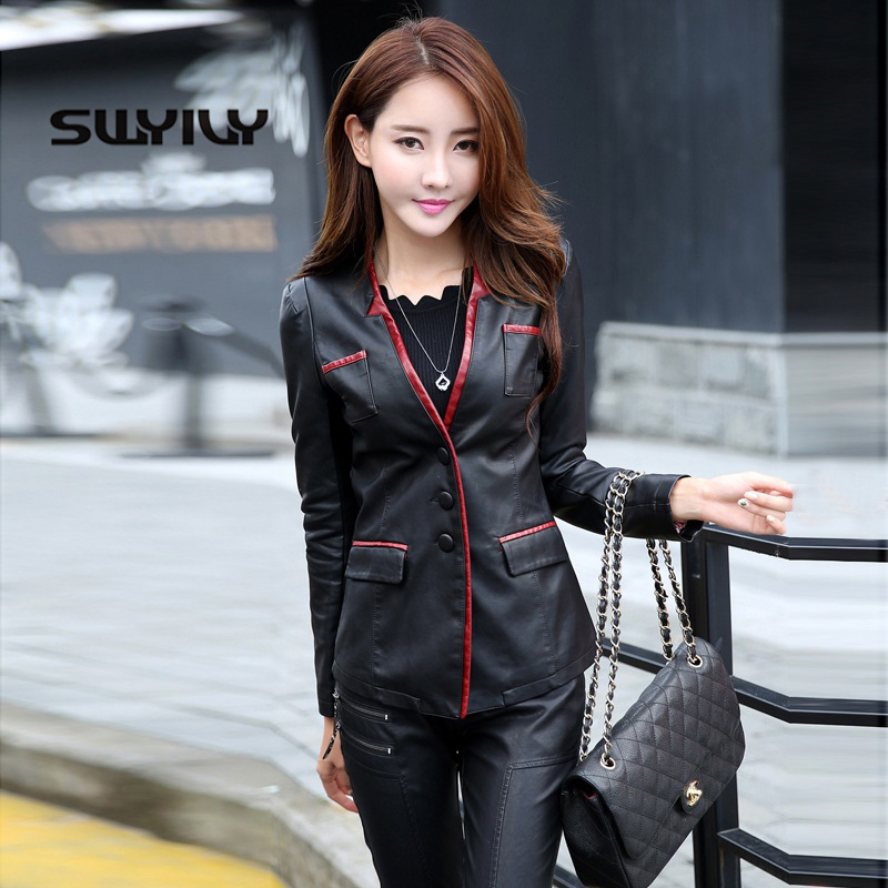 SWYIVY Women   Leather   Jackets Coat PU Short Desgin 2019 Spring Autumn Female Slim   Leather   Coats 5XL Super Big Size Woman Jacket
