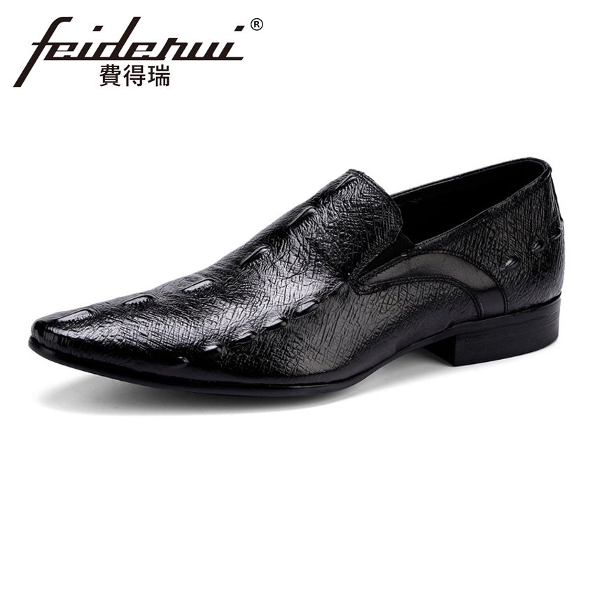 Plus Size Alligator Men's Loafers Pointed Toe Slip on Man Italian Flats Genuine Leather Handmade Height Increasing Shoes ASD24 2017 summer new fashion sexy lace ladies flats shoes womens pointed toe shallow flats shoes black slip on casual loafers t033109