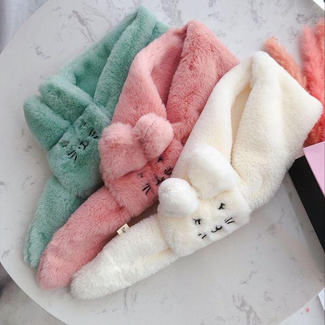 2018 зимний детский шарф-кольцо для мальчиков и девочек, детские шарфы с имитацией кроличьего меха, шарф с милым мультяшным рисунком, толстые гетры для шеи