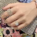 Brilliant Inspired 18K Rose Gold Plated Paved Austrian Crystals Rhinstones Double G-Shaped Wide Ring Evening Accessories