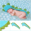 Newborn photography props cartoon dinosaur knitting crochet hooded baby born photography clothing cute cloak for photo prop