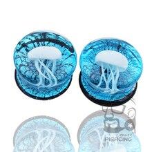 Пара Стекла пронзительный Вспыхнула Двойная белые Медузы беруши Прозрачный яркий океана ювелирные изделия тела 8-16 мм(China (Mainland))