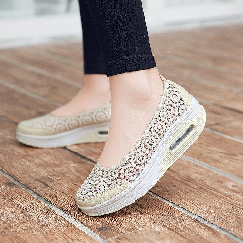 Femme Chaussures Printemps Casual Respirant Eté Beige Slip On Pédale gris Sneakers Creux noir gnRU1gp