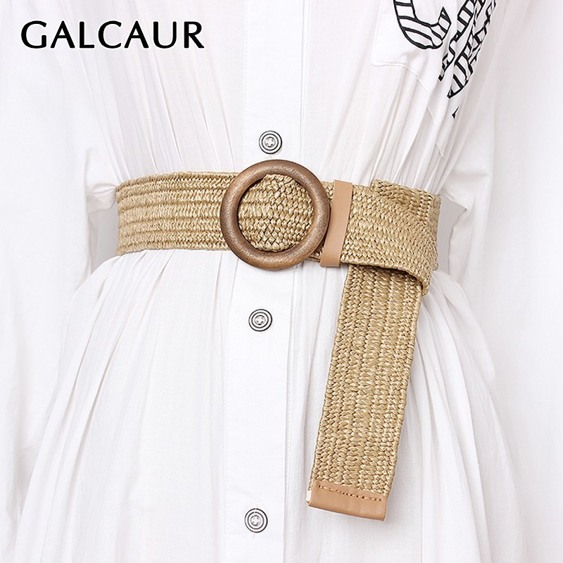 GALCAUR Summer Wide High Waist Vintage Dresses Accessories Fashion New Tide Belt Female Striped Belts For Women 2020