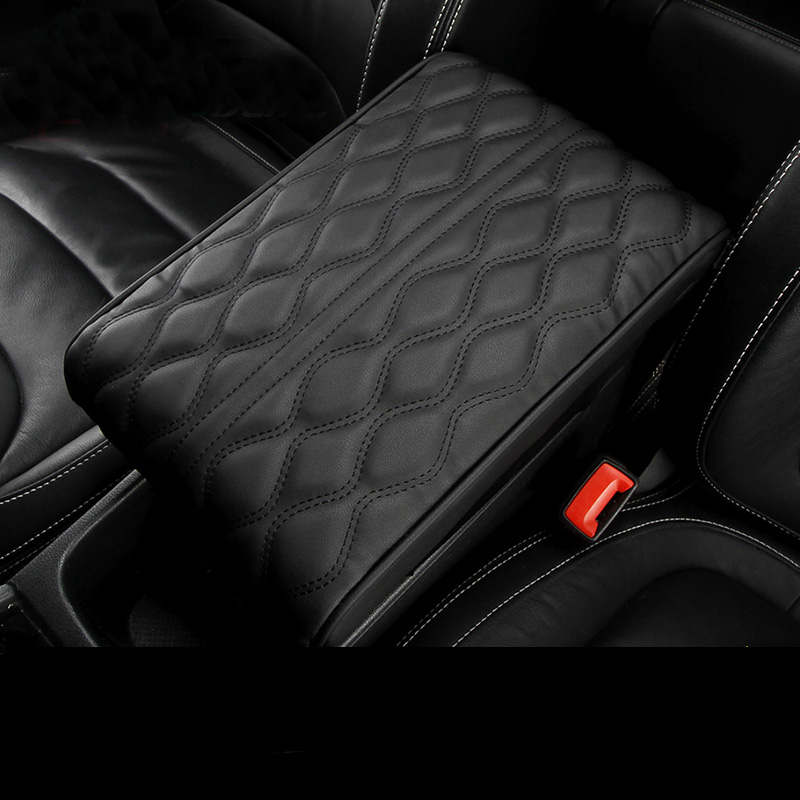 PU Leather Car Armrest Pad Cover Universal Center Console Wave Embroider Auto Seat Armrests Box Protection Cushion Hand Supports