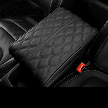PU Leather Car Armrest Pad Cover Universal Center Console Wave Embroider Auto Seat Box Protection Cushion Hand Supports