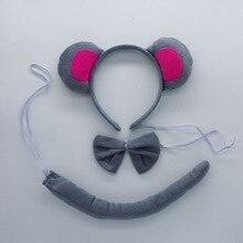 Детская серая повязка на голову с ушками крысы и мыши; комплект из 3 предметов с галстуком-бабочкой и хвостом; Детский карнавальный костюм; костюм на Хэллоуин и Рождество