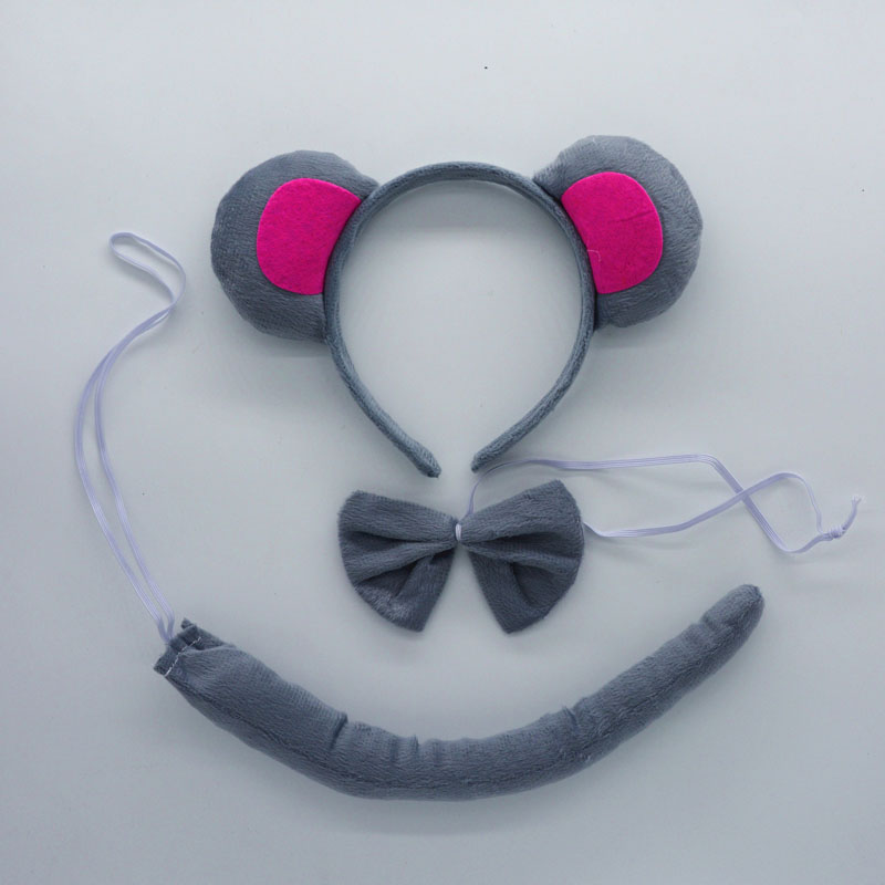 2018 Children Grey Rat Mouse Ear Headband Bow Tie Tail 3pcs Set For Kids Party Costume Cosplay Accessories rat race